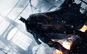 suit, snow, fire, cloak, armor, bridge, Bruce Wayne