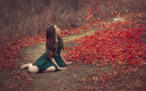 осень, зелёное платье, листья, девочка, боке