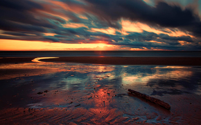 море, облака, солнце