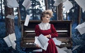 music, piano, girl, Music