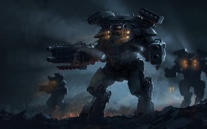 weapon, Robots, night, Art