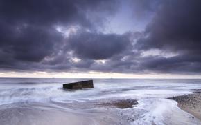 NUBES, Reino Unido, Inglaterra, Norfolk, Mar del Norte, lila, cielo, tarde, costa