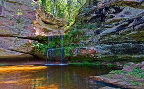 Wisconsin, cascata, Rocce, alberi, pond, natura