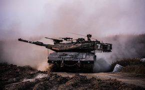 Меркава, основной, грязь, боевой, Израиля, танк, пыль