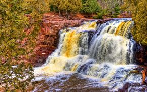 Gooseberry River State Park, Minnesota, Fluss, Wald, Rocks, Wasserfall