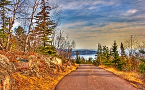 Silver Bay, Minnesota, jezioro, droga, drzew, krajobraz