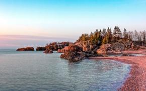Silver Bay, Minnesota, See, Straße, Bäume, Landschaft
