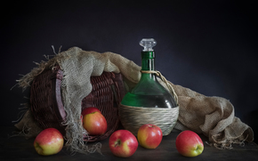 apples, Baskets, bottle, still life