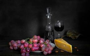 carafe, glass, grapes, cheese, still life