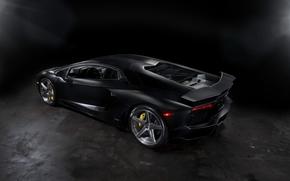 Aventador, vista posteriore, Azionamenti, Mat, fari, nero, Lamborghini, Lamborghini