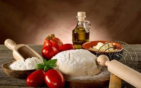 farina, pane, pasta, pomodori, olio