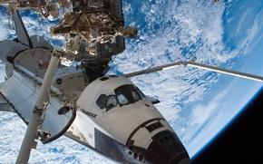 land, space, Shuttle Endeavour, planet