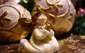 праздники, новогодние, шары, фигурка, статуэтка, ангел