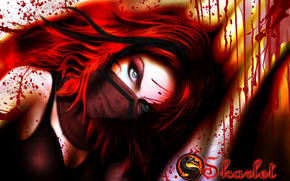 red hair, view, mask, green eyes, game, Art, girl, blood