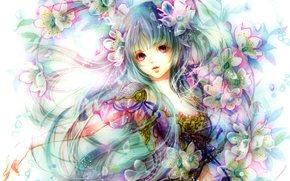 цветы, девушка, аниме, арт
