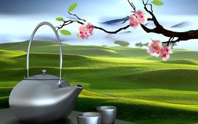 kettle, Oriental landscapes, Sakura, cups