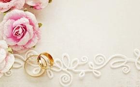голуби, свадебные кольца, цветы, свадьба, розы, кружево, праздник