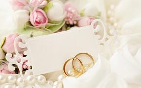 свадебные кольца, кружево, свадьба, праздник, голуби, открытка