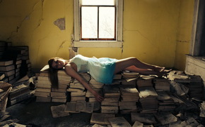 room, Books, girl