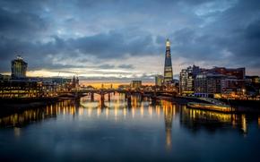 cielo, NUVOLE, Inghilterra, riflessione, Thames, ponte, costruzione, luci, sera, Grattacieli, Londra, grattacielo, città, chiaro, acqua, Regno Unito, fiume