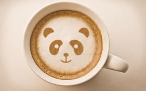 dibujo, café, piel, jarra, fondo, panda