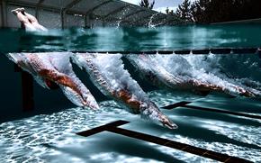 прыжок, брызги, плавание