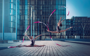 gymnasts, city, grace, dance