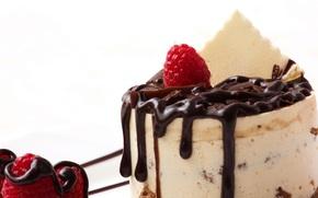 Dessert, cioccolato, lamponi