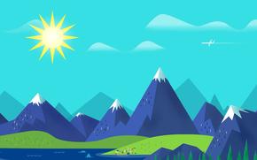 sea, Mountains, plane, landscape, sky