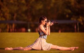gafas, chica, fotógrafo, guita, cámara