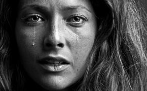 sorrow, girl, bw, tear, portrait