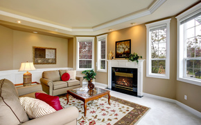 picture, fireplace, sofa, lamp, design, interior, room, style