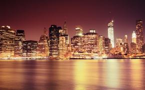 Skyscrapers, East River, High-rise buildings, home, strait, USA, New York, city, light, building, lights, Lower Manhattan