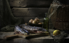 масло, лимон, лук, рыба