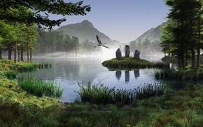 gru, uccello, lago, paesaggio, monolito, pietre, Montagne, rendere