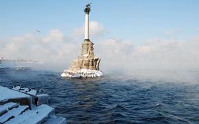 terrapieno, eroe, freschezza, nuvole, acqua, inverno, nebbia, Sevastopol, città, Crimea, Russia, Mar Nero, Monumento alle navi passeggere, nevicata
