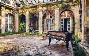 рояль, музыка, фон, двор