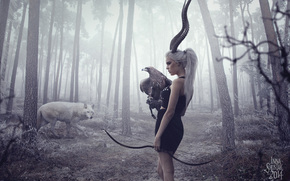 floresta, cebolas, menina, árvores, Horns, águia, besta, caçador, Estrondo, lobo