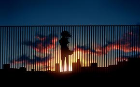 забор, арт, закат, силуэт, дома, облака, девушка, аниме, солнце, небо