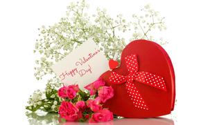 романтика, красный, день всех влюбленных, день Святого Валентина, сердце, любовь, розы, подарок, бантик