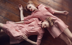 Fußboden, Mädchen, Freundin, träumen