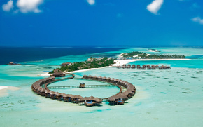 Islands, hotel, Maldives, ocean