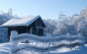 зима, деревья, снег, забор, небо, лес, мороз, домик