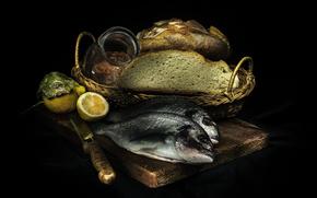 лимон, хлеб, рыба