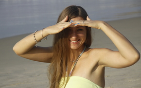 девушка, прогулка, улыбка, обои, фон, настроения, море