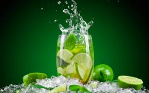 всплеск, лёд, мята, стакан, напиток, вода, лайм