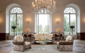 设计, 表, 椅子, 沙发, 室内, 大窗户, 房子城堡, 灯, 吊灯, 家具, 花瓶, 玫瑰, 风格