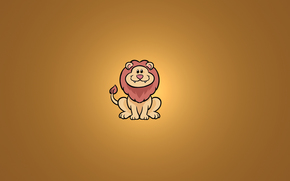 animal, lion, smile, sitting, minimalism