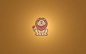 животное, лев, улыбка, сидит, минимализм