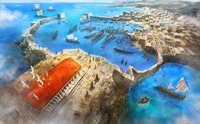 tempio, Art, città, persone, navi, vista dall'alto, porto